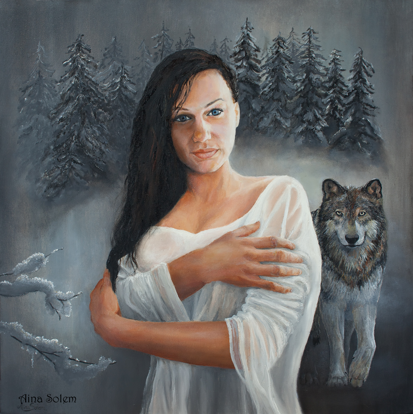 Aina Solem Painting wolf wolves maleri ulv varg
