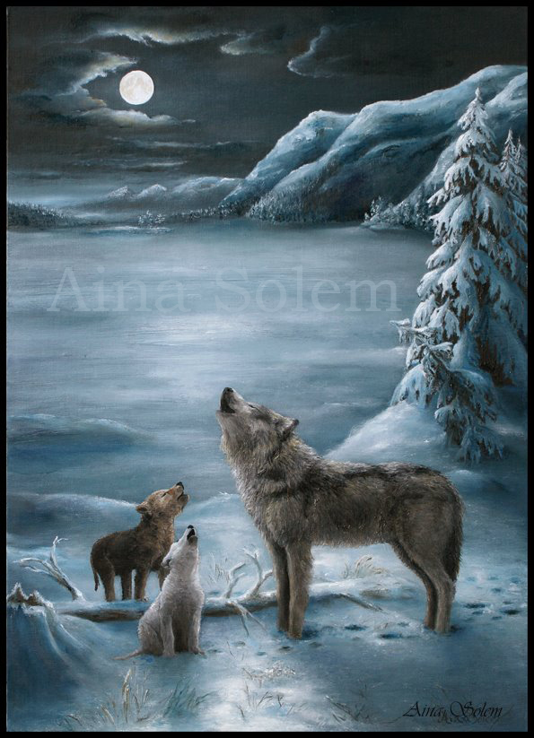 Aina Solem Wolf painting wolves painting ulv maleri wolf cubs howl wolves howling moon